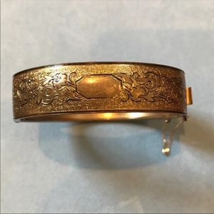 1930's Antique Etched Bangle Bracelet